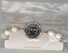 """Bracelet, Christ Medallion With White Marble Beads, 4"""" Stretchable, Brand New"""
