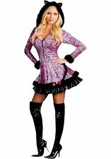 DREAMGIRL Pink Pouncer Sexy Kitty Adult Women's Animal Print Costume 6412 S New
