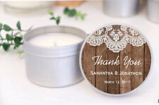 Personalised Soy Candle Wedding Favours Bomboniere. RUSTIC Birthday Baby Shower