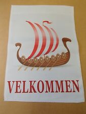 Velkommen Norwegian Danish Viking Ship Decorative Garden Flag #GFL401N