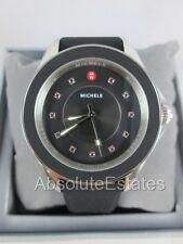 NEW Michele Cape Black Silver Red Topaz Ladies Watch MWW27A000006 NIB + Box