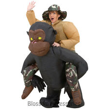 CL257 Airblown Inflatable Illusion Gorilla Rider Riding Mens Funny Adult Costume