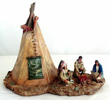 Indian American w/ Lighting Tipi Tipee Statue Figurine Figure Native Indio India