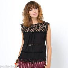 La Redoute Boxy BLACK LACE sleeveless top blouse UK 12 EU 40 NEW