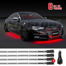 Car/Truck Led Under Glow Neon Strip Lights Kit 3 Pattern+ 8pc 24in Tube - RED