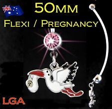 1pc Gem Baby PINK STORK Pregnancy Flexible Maternity Piercing Navel Belly Bar B