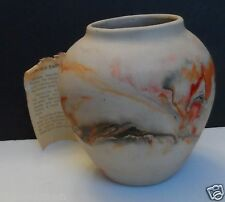 "Nemadji American Art Pottery Large Size Vase Planter Gray Orange 7 1/2"" Tall"