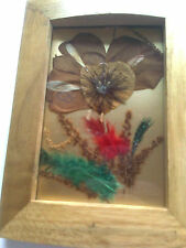 FRAMED PRESSED FLOWERS AND FEATHERS