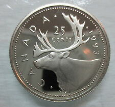 1993 CANADA 25 CENTS PROOF QUARTER COIN