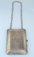 "ANTIQUE STERLING SILVER EMBOSSED PURSE BUILT-IN COIN HOLDER & PENCIL 11"" CHAIN"