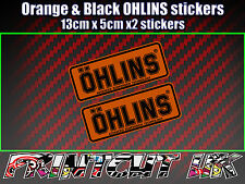 2x Ohlins Orange & Black Decals Stickers Suspension Bike, Shock fork damper moto