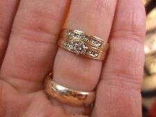 BEAUTIFUL OLDER VTG ANTIQUE 14K YELLOW GOLD & DIAMONDS LADIES WEDDING RING SET