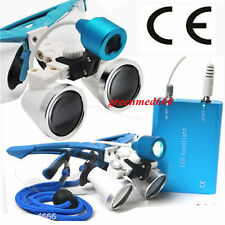 Dental Surgical Binocular Loupes 3.5X420 Optical Glass +LED Head light lamp USA