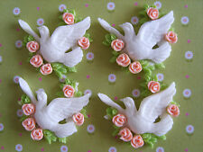 4 x Pretty Dove with Flowers Flatback Resin, Embellishment,Crafts,Cabochon *UK*