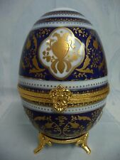 VINTAGE LIMOGES FRANCE FOOTED PORCELAIN EGG/BOX, HAND PAINTED, COBALT & GILT