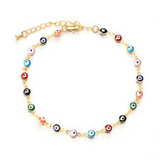 Turkish Jewelry Gold Filled Charm Evil Eye Lot Chain Bracelet Rainbow Enamel