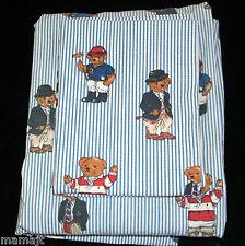 Ralph Lauren Blue White Stripe Bear Twin Bed Sheet Set Flat Fitted 2 Pillowcases