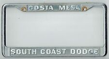 RARE Costa Mesa California South Coast Dodge Vintage Dealer License Plate Frame