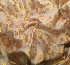 Vintage White & Gold FLORAL Metallic BROCADE Fabric 1/3 yard remnant
