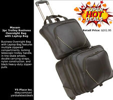 Business 2 Piece Black Trolley Overnight Bag with Wheels and Laptop Bag