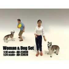 WOMAN AND DOG 2 PIECE FIGURE SET FOR 1:24 SCALE MODELS BY AMERICAN DIORAMA 23928