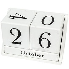 White Vintage Shabby Chic Perpetual Wooden Block Date Calendar Home Desk Office