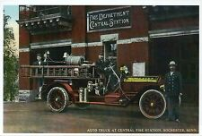 Central Fire Station and Truck, Rochester Minnesota, Engine MN - Modern Postcard