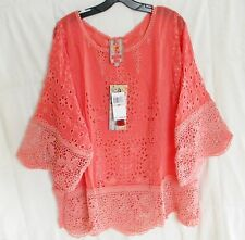 $288 JOHNNY WAS EMBROIDERED EYELET CROCHET LACE TUNIC TOP PASSION FRUIT 2X NWT