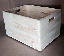 * Pine wood open crate 40x30x23cm DD166 CD record storage box archive  (Z1)