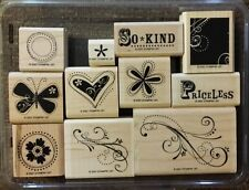 Stampin' Up PRICELESS Set of 11 Wood Mounted Rubber Stamps Lot Butterfly Flower