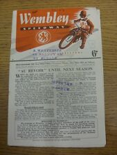 18/10/1951 Speedway Programme: Wembley v New Cross (rusty staples, results noted