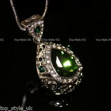 Emerald Green Vintage Style Crystal Diamond Teardrop Princess Necklace Pendant