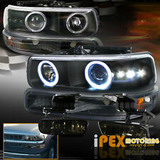 For Chevy Tahoe Suburban Halo Projector Black LED HeadLight + Smoke Fog Light