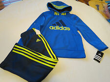 Boy's kids adidas active jacket pants set AG5791 youth 7 dk blue royal yellow