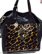NEW /TAG PULICATI MADE IN ITALY  WOMENS  LEATHER LEOPARD CALF HAIR SHOULDER BAG