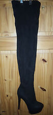 Ladies Over The Knee Thigh High Platform Boots Black Size  43