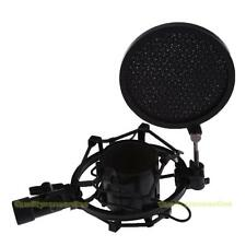 Microphone Shock Mount Stand Holder with Integrated Pop Filter Black Kit