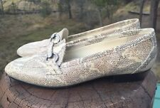 Naturalizer Women's Cream/Brown Leather Snakeskin Loafers Shoes Size 6.5M