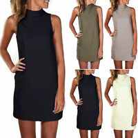 Ladies Womens Sleeveless Summer Shirts Dress Sexy Tops Beach Sundress Plus Size