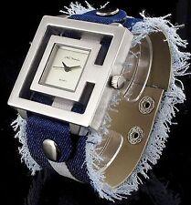 Nele Fortados Armbanduhr XXL Jeans Pu Leder Armband Damenuhr ausgefranster Look