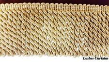 "Gold Color Bullion 8.3cm""Tassel Fringe Trim By The Yard Curtain/Upholstery/Craf"