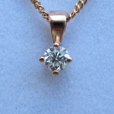 "Brand New Diamond Solitaire 9ct Rose Gold Pendant Necklace & 18"" Chain £74.99"