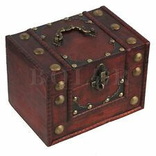 Vintage Large Wooden Jewellery Storage Box Copper Nails Treasure Chest Case