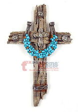 Turquoise Horseshoe Concho Decorative Wall Cross Faux Wood Barbed Wire Decor
