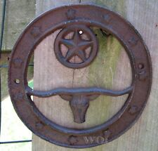 Old West Country Western Texas Longhorn Bull Cast Iron Wreath Star Plaque Sign