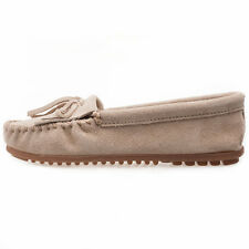 Minnetonka Moc Kilty Womens Shoes Stone Suede Brand New Shoes Size 3 UK 36 EU