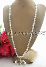 Q122006 Amazing! Pearl&Frosted Crystal&Crystal Pendant Necklace