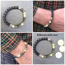 Kilkennycailin Men bracelet. Connemara marble, black onyx. Irish Celtic Jewelry