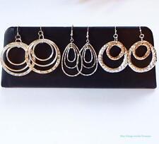 Lot of Chandelier Pierced Earrings Estate Lot Silver Tone Hammered