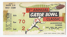 1957 Gator bowl game ticket stub Tennessee Texas A&M